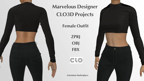 Female Outfit - Jeans and Shirt- Marvelous Designer and CLo3d Projects + OBJ+ FBX