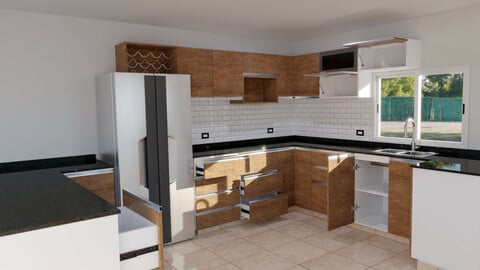 Highly detailed kitchen furniture