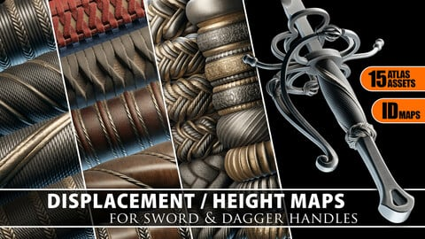 Displacement / Heightmaps for Sword&Dagger handles Vol. 1