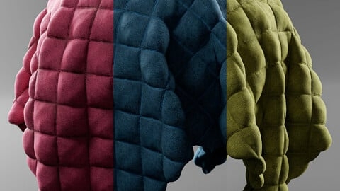 PBR - QUILTED FABRIC 3 COLORS PACK - 4K MATERIAL