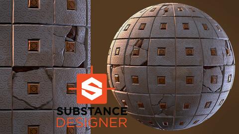 Stylized Tile with Damage - Substance Designer