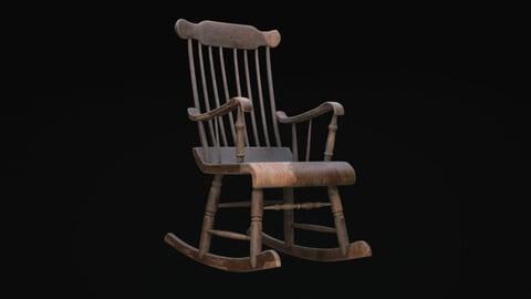 Old Western Rocking Chair Game Ready