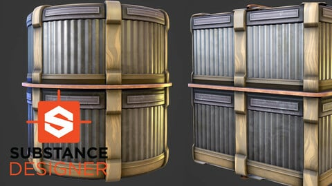 Stylized Corrugated Metal Panel - Substance Designer