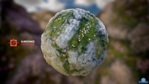 Overgrown Cliffs PBR Material - procedural (.sbs / 4k textures + .SBSAR)