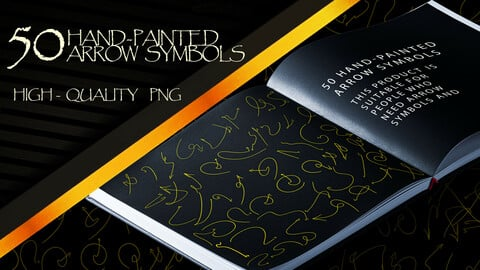 50 - Practical and Useful Patterns : Hand - Painted Arrow Symbols  ( 4k High - Quality PNG )