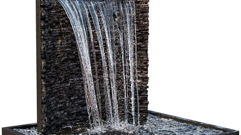 Waterfall fountains rock panel 3D model