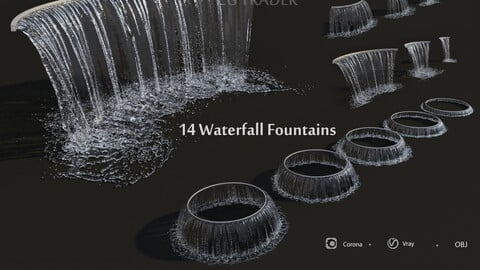 Collection Waterfall Fountains Cascade - 14 3D model