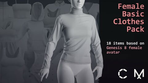 Female basic clothes pack. Marvelous / Clo 3D / 18 .zprj projects