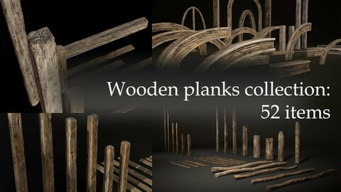 56 Wooden items  collection: Planks, Poles,  Arches and Beams - 52 pieces and four assets