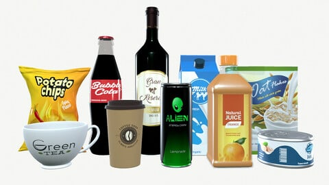Pack of 10 Products - Food and Beverage - Game Ready Low-poly 3D model