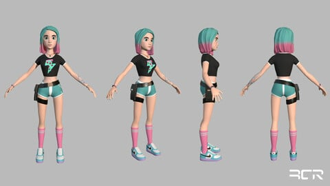 Stylized Girl - Low Poly Character - Game Ready Low-poly 3D model