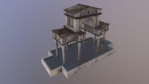 Low Poly Ornamental Pool 3D Model