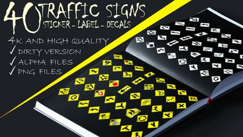 40 - Practical and Useful - Traffic Signs Sticker , Label , Decals - Alpha Files. Dirt Version Files . PNG Clean Files * 4K High Quality Resolution * - ( VOL 01 )