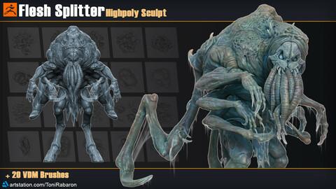 Flesh Splitter | Highpoly Sculpt + 20 VDM Brushes for Zbrush