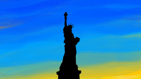 New York City Statue of Liberty digital art poster