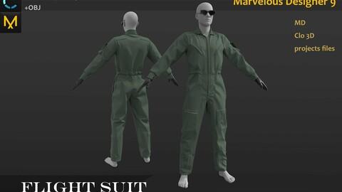 Military Uniform_Basic Flight Suit. MD, Clo3d project_Battlefile War Outfit_OBJ_FBX if needed