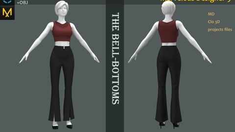 Female_Summer Shirt_Pants_Bell Pants_High Heel_Marvelous Designer File_Fbx&Obj if needed