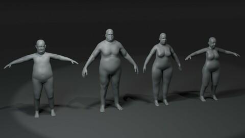 Fat Human Body Base Mesh 3D Model Family Pack 20k Polygons