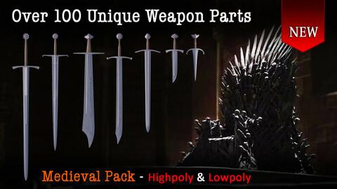 Medieval mega weapon kit bash pack series - Vol 1 - Swords & Daggers