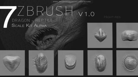 ZBRUSH - Dragon Scale Kit Alpha v1.0
