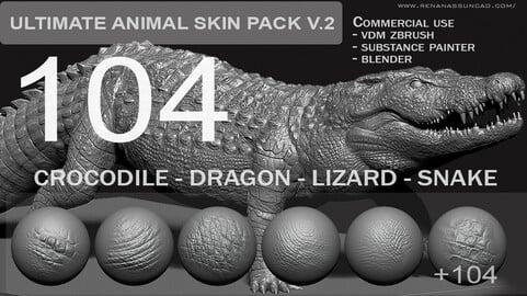 Ultimate 104 Animal SkinPack V2 for Zbrush/Blender and Substance Painter