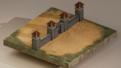 Castle Wall Level 5 3D Model