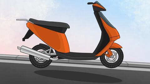 Cartoon Scooter motorbike sticker
