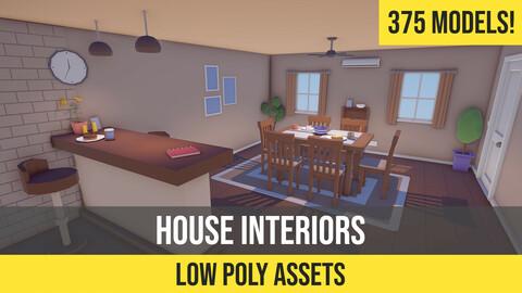 Low Poly Cartoon House Interiors
