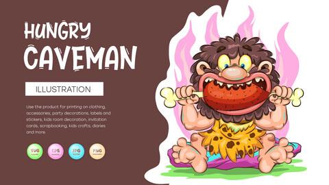 Cartoon Hungry Caveman