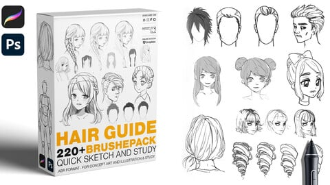 HAIR GUIDE BRUSHES 220+ Quick sketch and Study