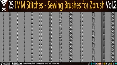 25 IMM Stitches - Sewing Brush for Zbrush Vol 02