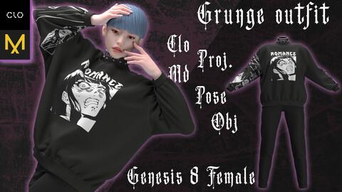 Clo3d/Marvelous designer Female Grunge outfit. Zprj/Obj/Pose