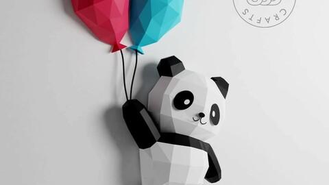 Papercraft Template 3D Panda with Baloon
