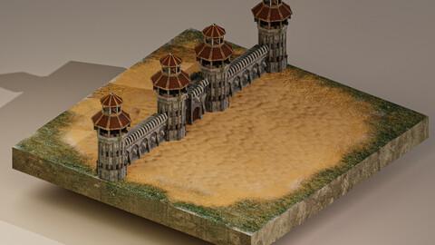 Castle Wall Level 20 3D Model