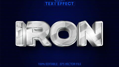 Iron text, shiny metallic silver style editable text effect