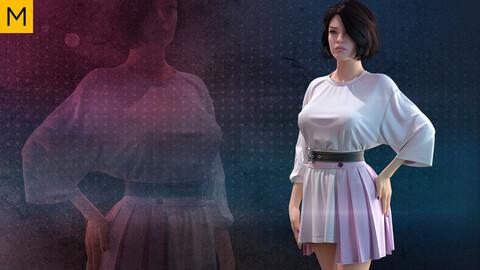 Female outfit. Avatar genesis 8 Female. Marvelous Designer, Clo3d project + OBJ/FBX files (30)