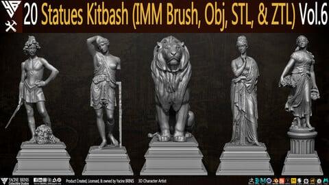 20 Statues Kitbash (IMM Brush, Obj, STL, & ZTL) Vol 06