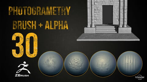 30 Zbrush Stone,Concrete and rock  4K Brush + Alpha + jpeg Preview