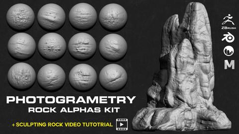80 Rocks | cliffs photo scaned Alphas +  Sculpting rock Video Tutorial
