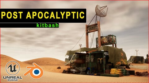 Post Apocalyptic Kitbash - (UNREAL, FBX, BLEND) Houses, Containers, Ammo Cases, Grenades, Mines, extras. 8K, 4K,1K textures