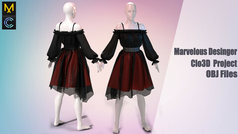 Gothic outfit (MD/Clo3D Project+ obj)