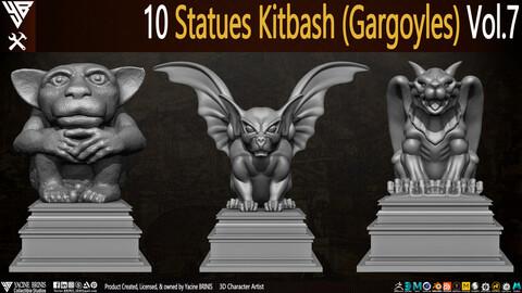 10 Statues Kitbash Gargoyles (IMM Brush, Obj, STL, & ZTL) Vol 7