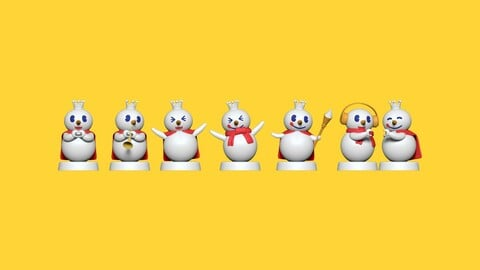 Mixue Snowman Squad - Fan Art Cartoon Snowman 3D Print Models