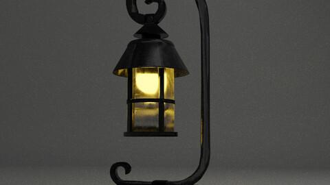 Vintage Single light Black Metal Lamp Low-poly 3D model