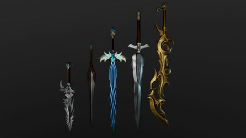 Low-Poly 3D Model  Swords Pack