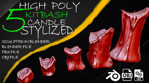 5 - High Poly KITBASH Candle Stylized - (sculpted in blender) - VOL01
