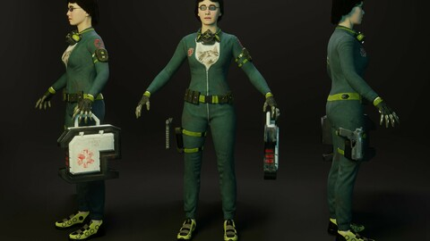 Sci-Fi woman character 3D model
