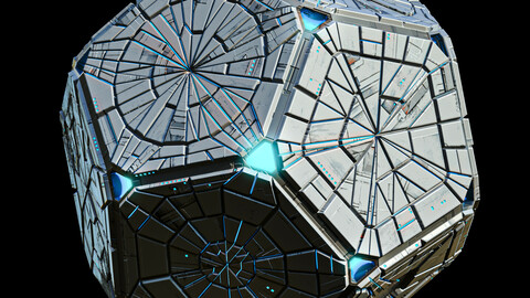 Geometrical Spacecraft Hedra Sphere Round Sci-Fi Space Station Lowpoly