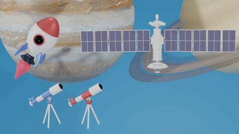Telescope Rocket Satellite  3D Model