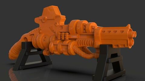 Stylized Sci-Fi Shotgun Sculpture